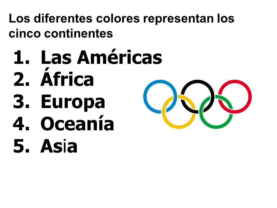 Los diferentes colores representan los cinco continentes 1.Las Américas 2.África 3.Europa 4.Oceanía 5.Asia