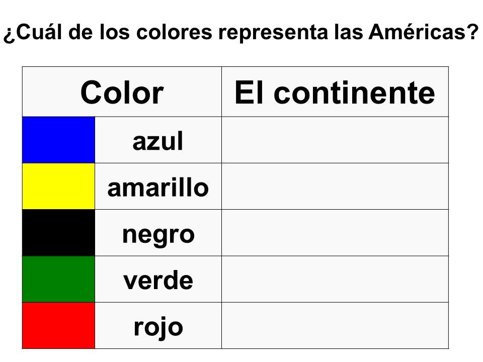 ¿Cuál de los colores representa las Américas? ColorEl continente azul amarillo negro verde rojo