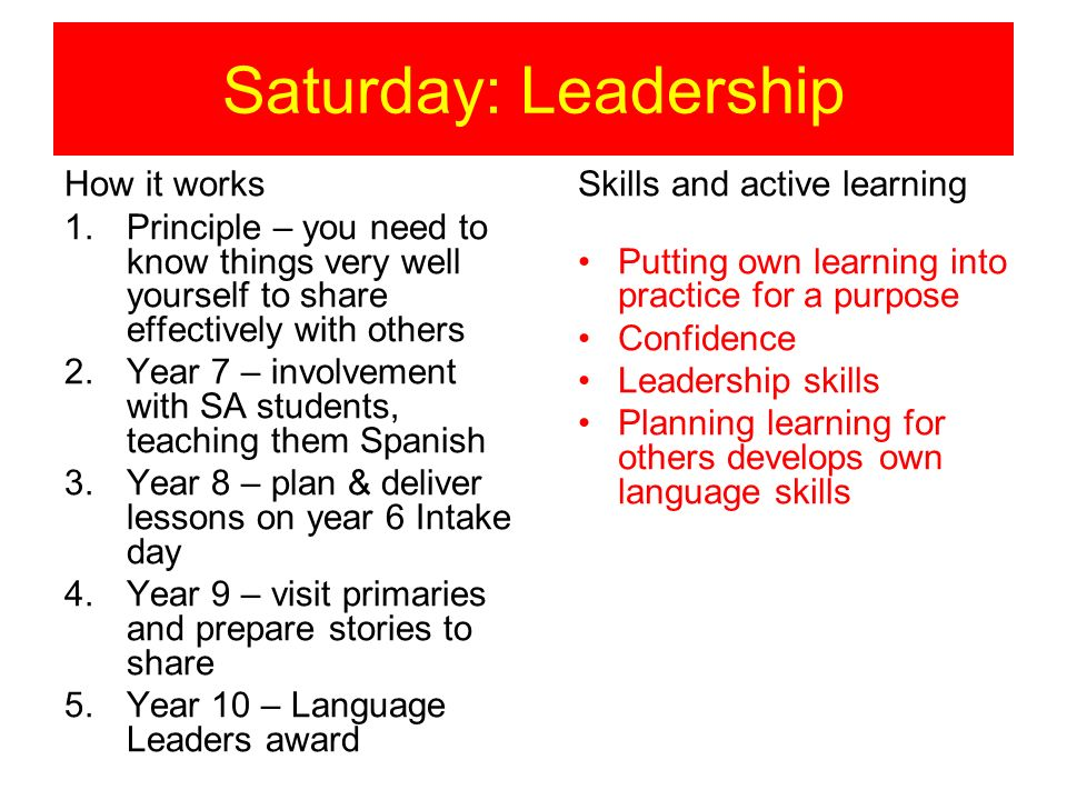 Saturday: Leadership How it works 1.Principle – you need to know things very well yourself to share effectively with others 2.Year 7 – involvement with SA students, teaching them Spanish 3.Year 8 – plan & deliver lessons on year 6 Intake day 4.Year 9 – visit primaries and prepare stories to share 5.Year 10 – Language Leaders award Skills and active learning Putting own learning into practice for a purpose Confidence Leadership skills Planning learning for others develops own language skills
