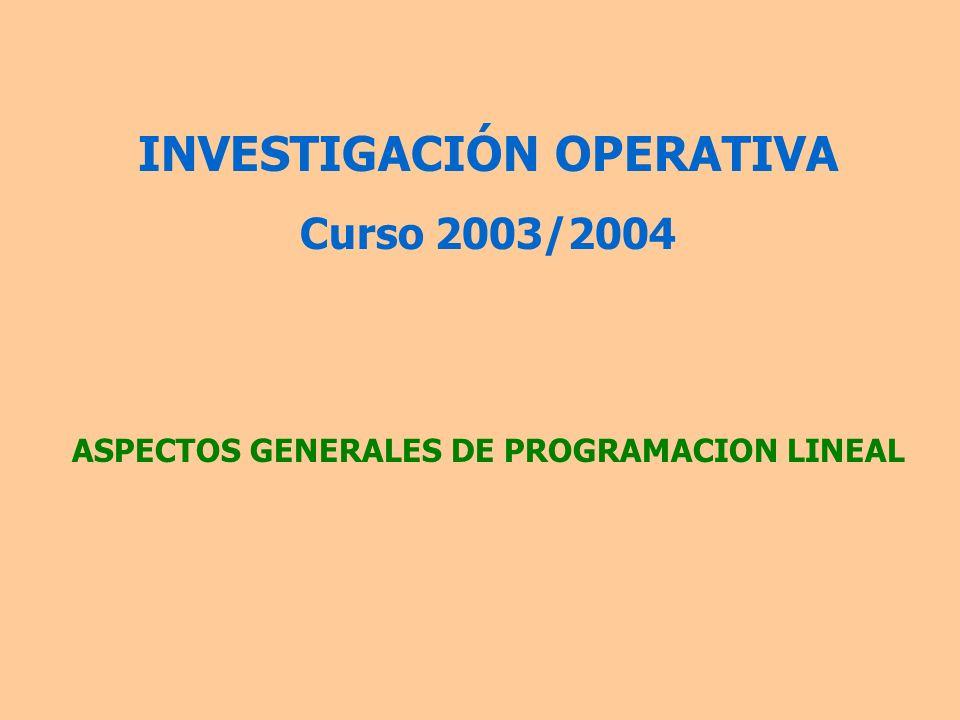 Programación Lineal Entera De aplicación cuando las variables de decisión han de ser enteras (número de personal a contratar).