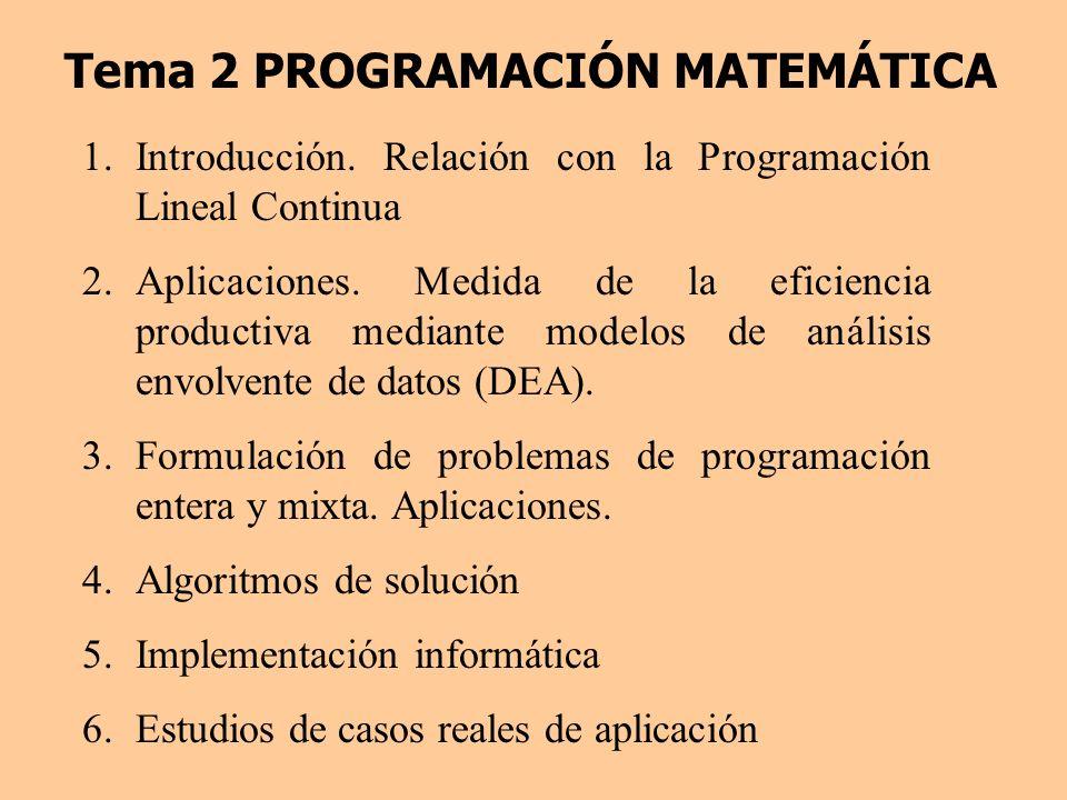 Tema 2 PROGRAMACIÓN MATEMÁTICA 1.Introducción. Relación con la Programación Lineal Continua 2.Aplicaciones. Medida de la eficiencia productiva mediant