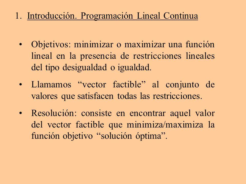 1.Introducción. Programación Lineal Continua Objetivos: minimizar o maximizar una función lineal en la presencia de restricciones lineales del tipo de