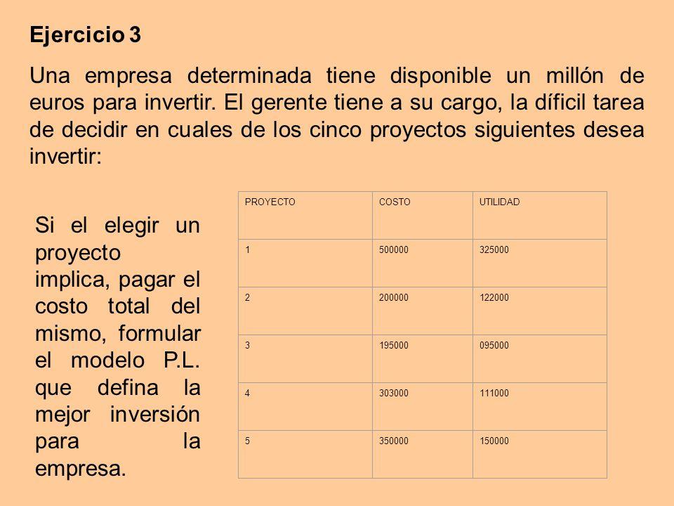 Ejercicio 3 Una empresa determinada tiene disponible un millón de euros para invertir.