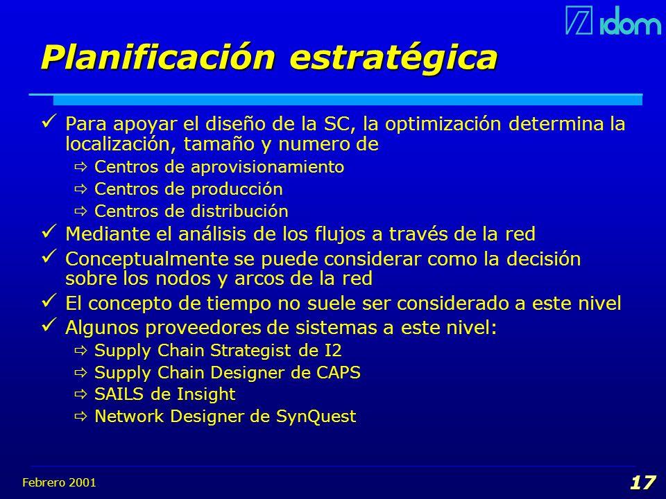 Febrero 2001 17 Planificación estratégica Para apoyar el diseño de la SC, la optimización determina la localización, tamaño y numero de Centros de apr