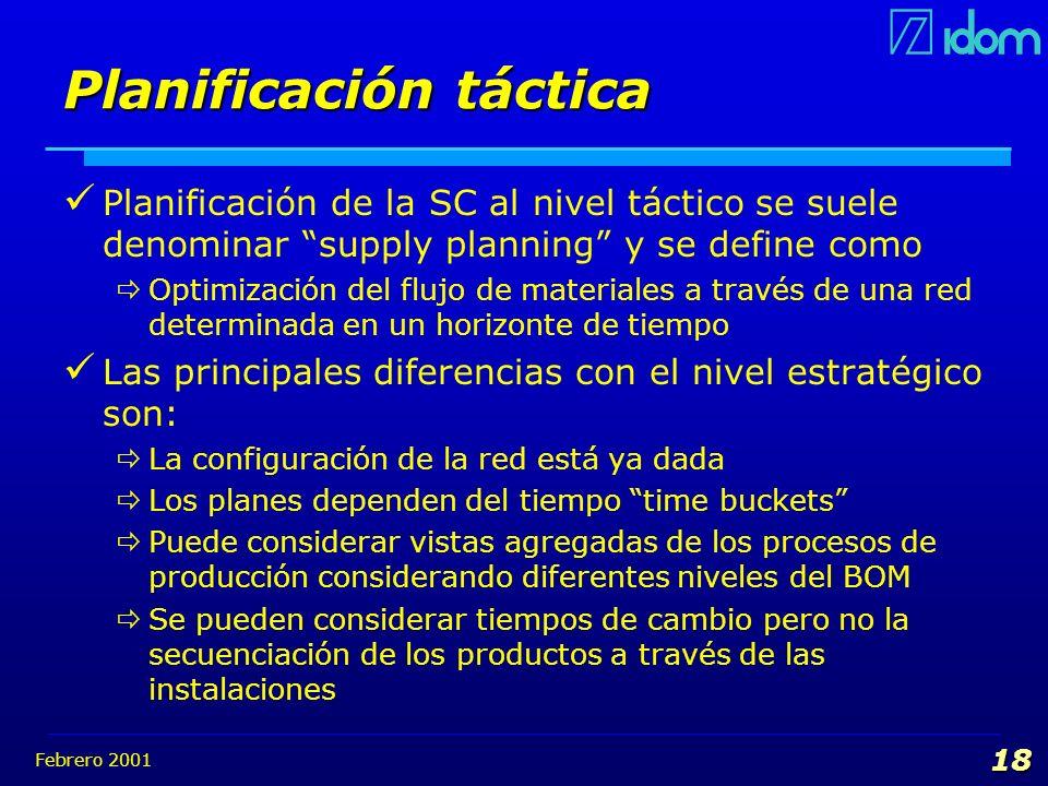 Febrero 2001 18 Planificación táctica Planificación de la SC al nivel táctico se suele denominar supply planning y se define como Optimización del flu