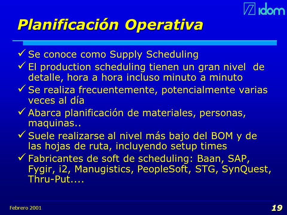 Febrero 2001 19 Planificación Operativa Se conoce como Supply Scheduling El production scheduling tienen un gran nivel de detalle, hora a hora incluso