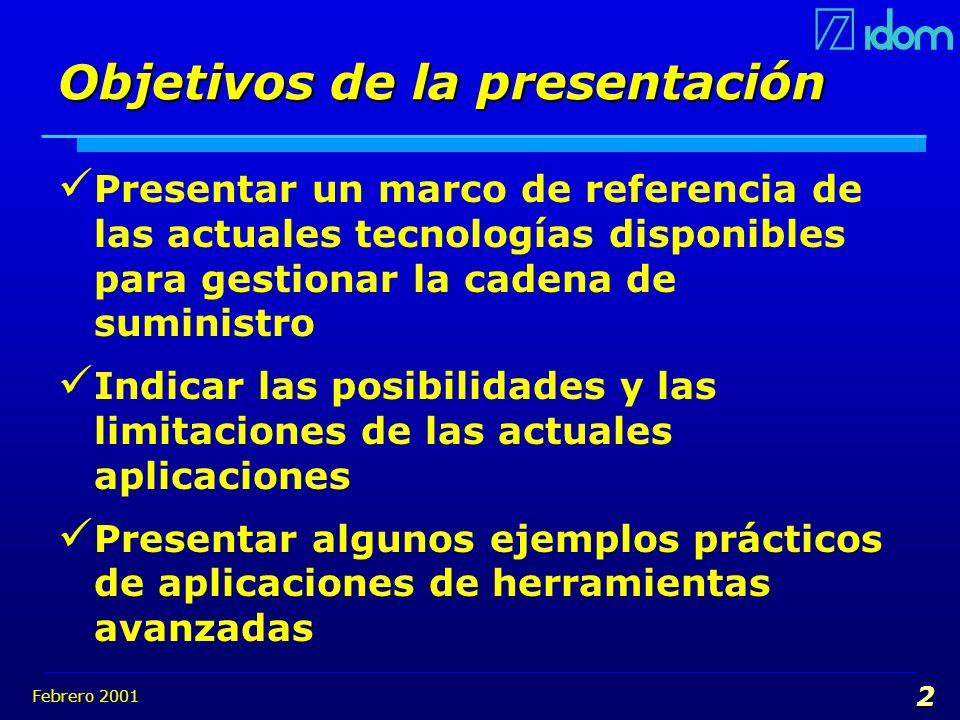 Febrero 2001 2 Objetivos de la presentación Presentar un marco de referencia de las actuales tecnologías disponibles para gestionar la cadena de sumin