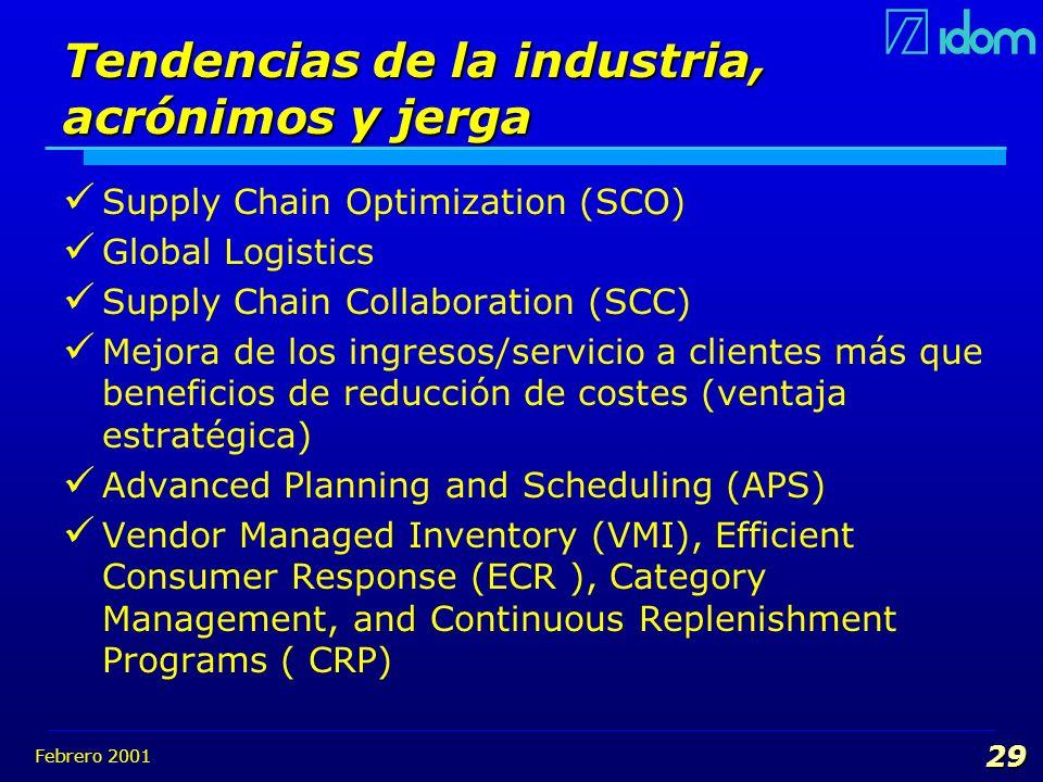 Febrero 2001 29 Tendencias de la industria, acrónimos y jerga Supply Chain Optimization (SCO) Global Logistics Supply Chain Collaboration (SCC) Mejora