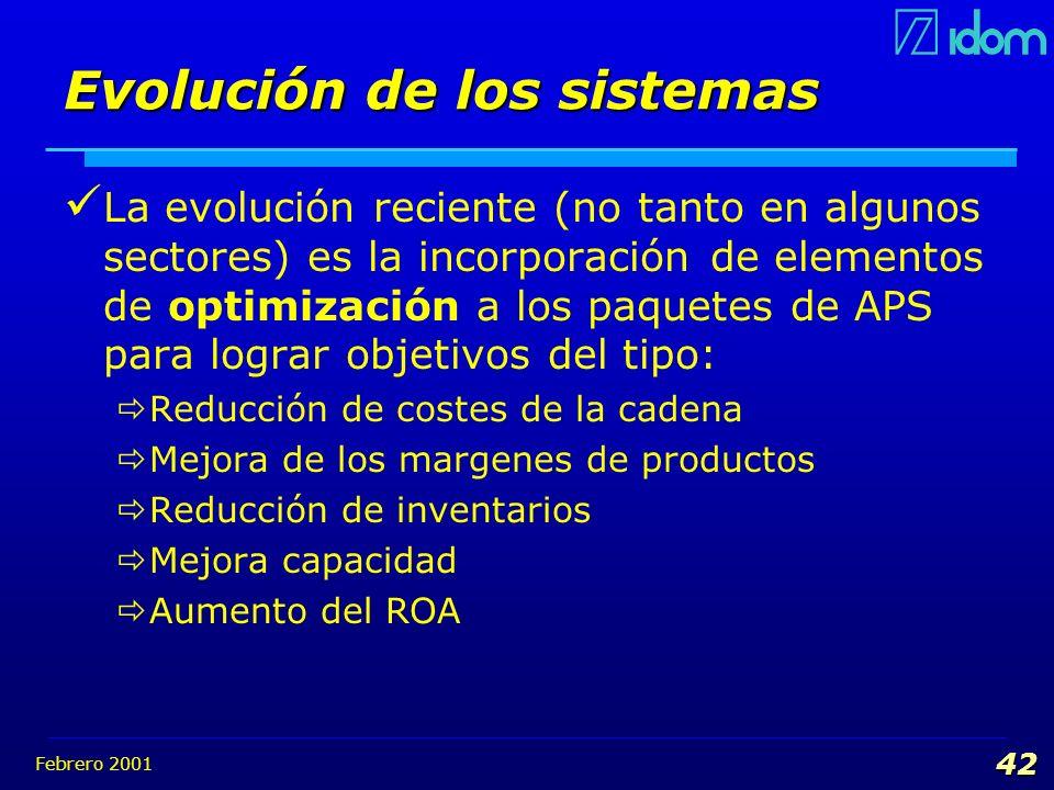 Febrero 2001 42 Evolución de los sistemas La evolución reciente (no tanto en algunos sectores) es la incorporación de elementos de optimización a los