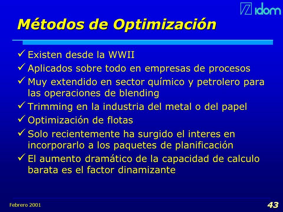 Febrero 2001 43 Métodos de Optimización Existen desde la WWII Aplicados sobre todo en empresas de procesos Muy extendido en sector químico y petrolero