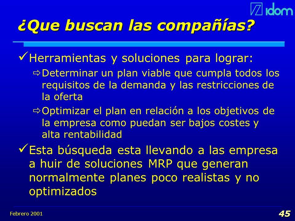 Febrero 2001 45 ¿Que buscan las compañías? Herramientas y soluciones para lograr: Determinar un plan viable que cumpla todos los requisitos de la dema