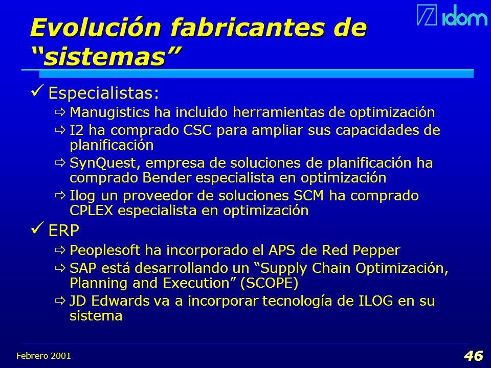 Febrero 2001 46 Evolución fabricantes de sistemas Especialistas: Manugistics ha incluido herramientas de optimización I2 ha comprado CSC para ampliar