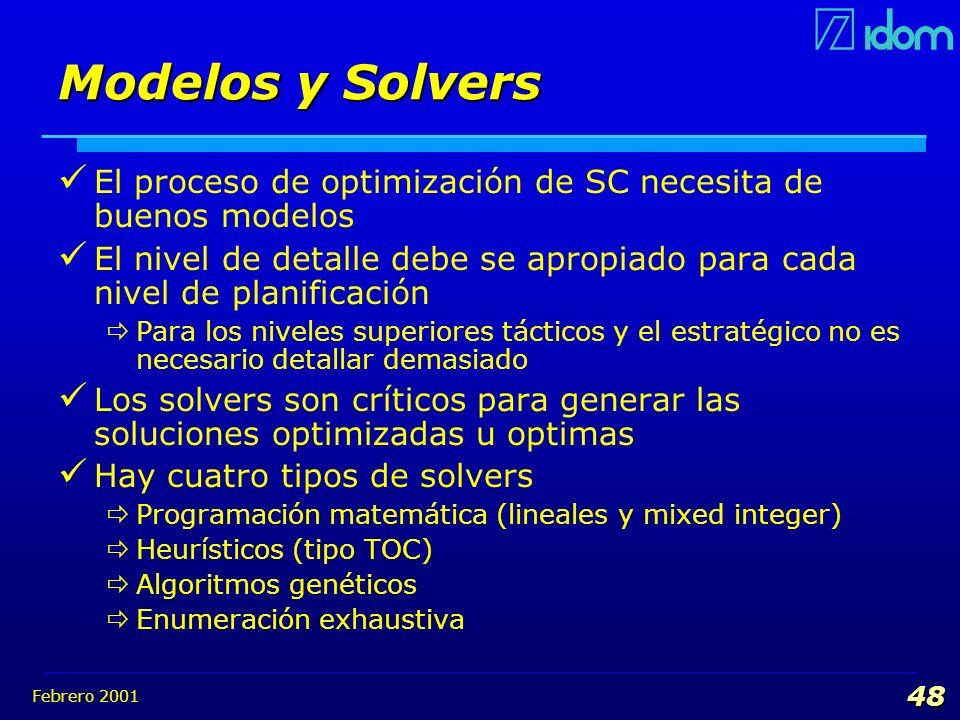 Febrero 2001 48 Modelos y Solvers El proceso de optimización de SC necesita de buenos modelos El nivel de detalle debe se apropiado para cada nivel de