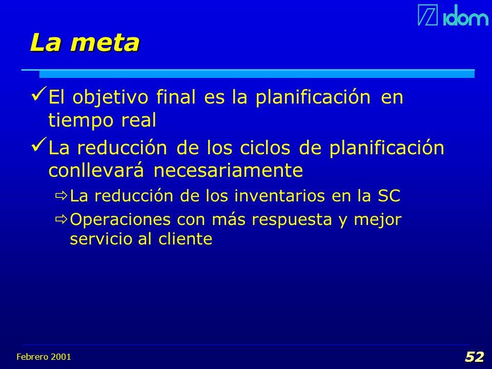 Febrero 2001 52 La meta El objetivo final es la planificación en tiempo real La reducción de los ciclos de planificación conllevará necesariamente La