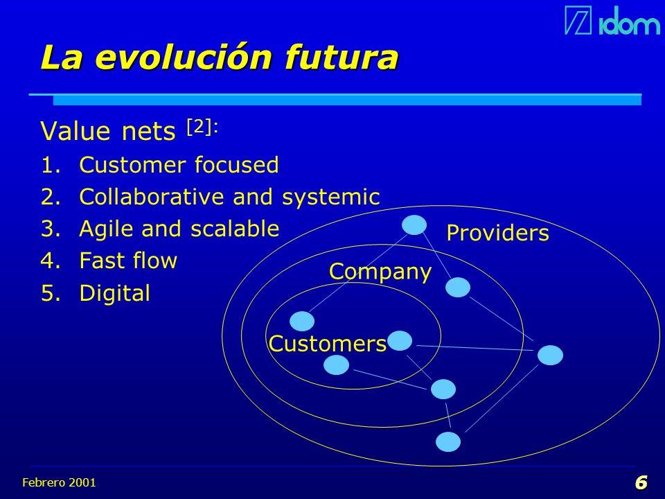 Febrero 2001 6 La evolución futura Value nets [2]: 1.Customer focused 2.Collaborative and systemic 3.Agile and scalable 4.Fast flow 5.Digital Customer