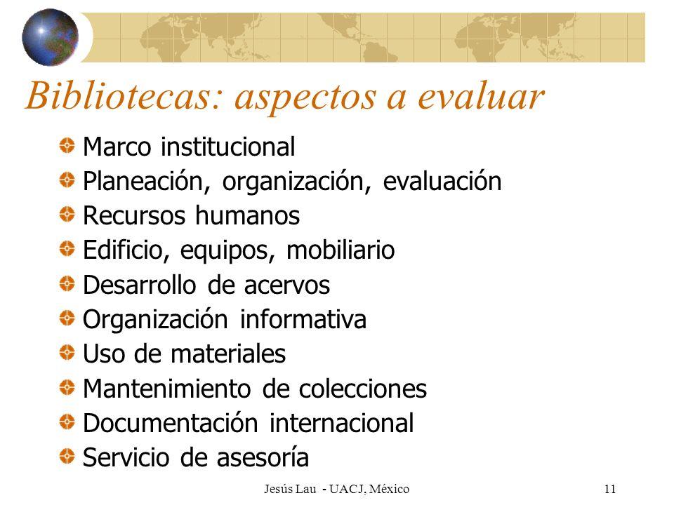 Jesús Lau - UACJ, México11 Bibliotecas: aspectos a evaluar Marco institucional Planeación, organización, evaluación Recursos humanos Edificio, equipos