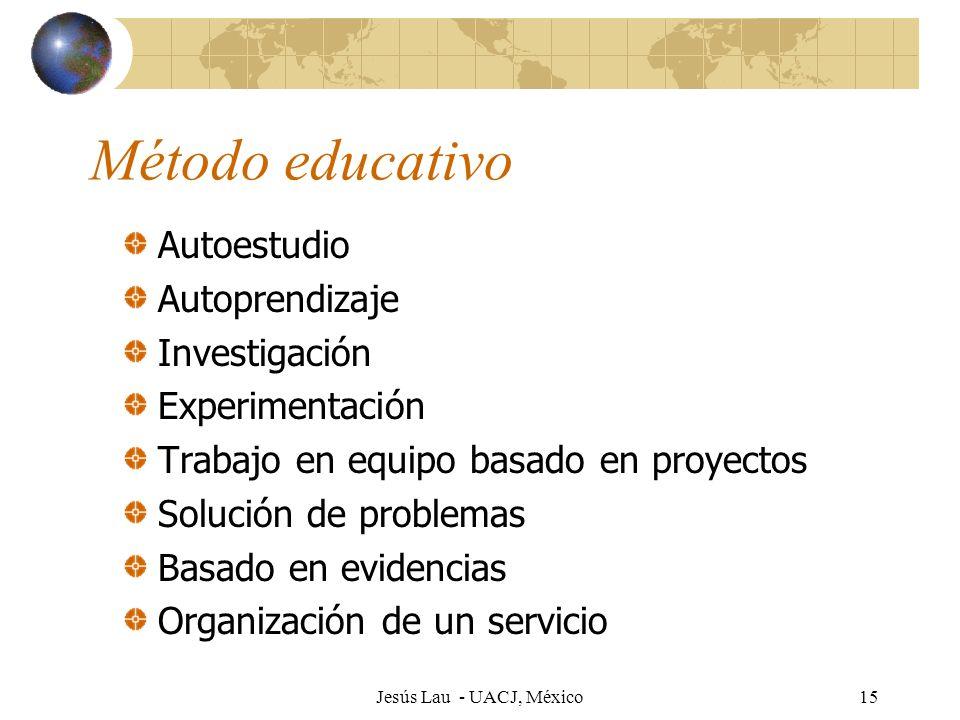 Jesús Lau - UACJ, México15 Método educativo Autoestudio Autoprendizaje Investigación Experimentación Trabajo en equipo basado en proyectos Solución de
