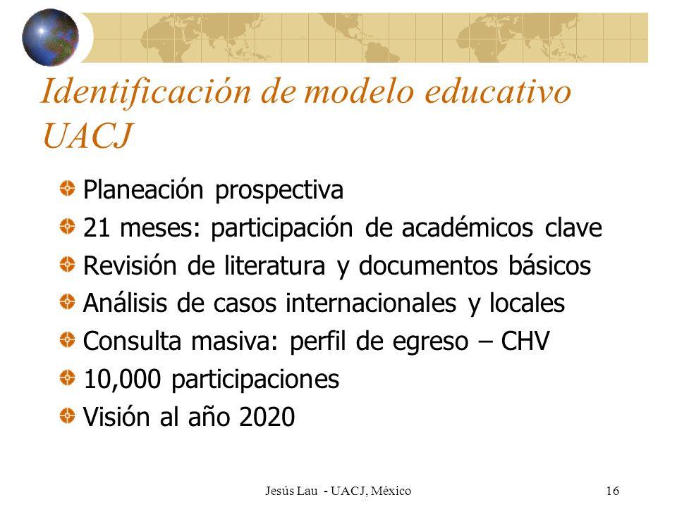 Jesús Lau - UACJ, México16 Identificación de modelo educativo UACJ Planeación prospectiva 21 meses: participación de académicos clave Revisión de lite