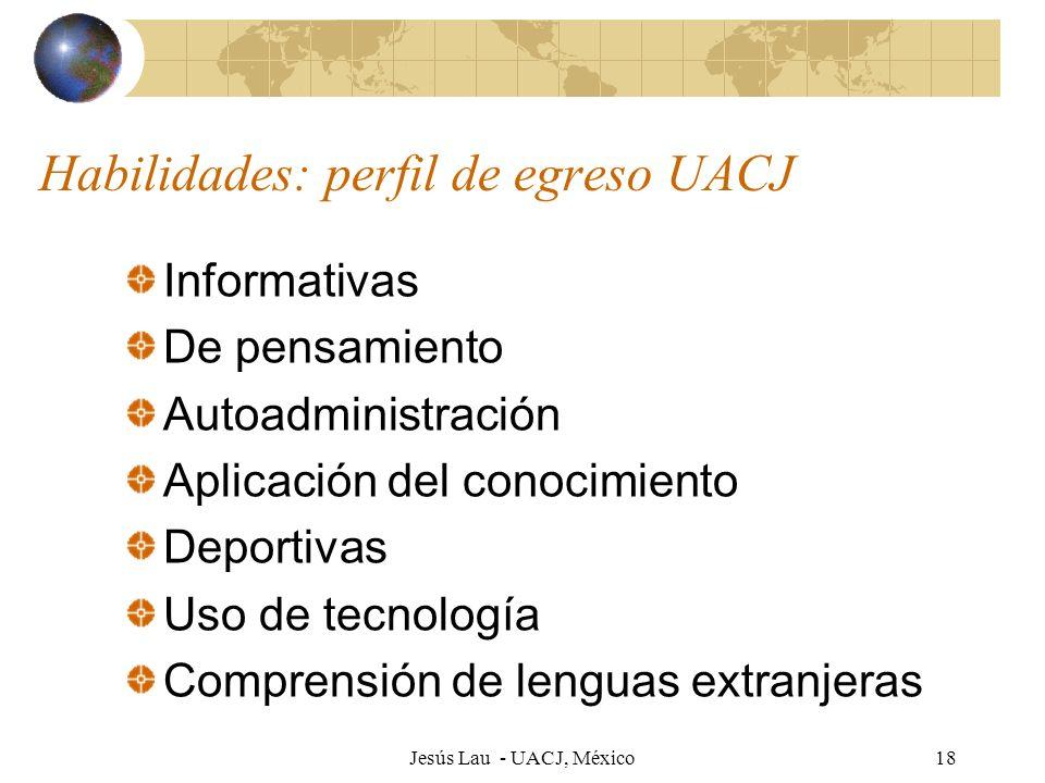 Jesús Lau - UACJ, México18 Habilidades: perfil de egreso UACJ Informativas De pensamiento Autoadministración Aplicación del conocimiento Deportivas Us
