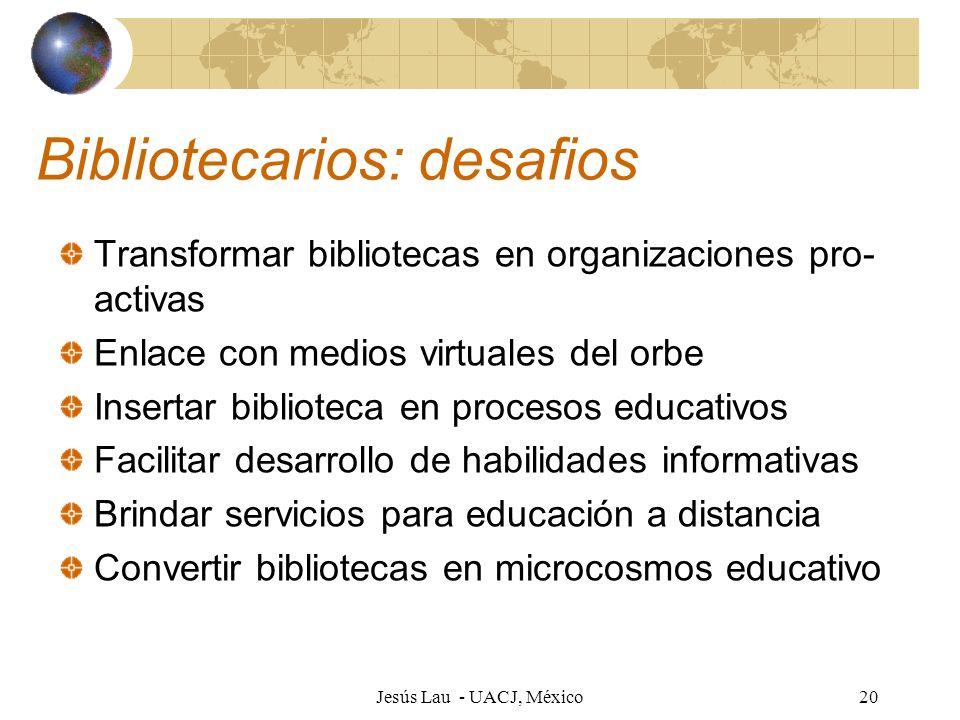 Jesús Lau - UACJ, México20 Bibliotecarios: desafios Transformar bibliotecas en organizaciones pro- activas Enlace con medios virtuales del orbe Insert