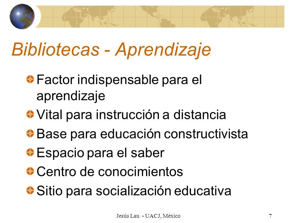 Jesús Lau - UACJ, México18 Habilidades: perfil de egreso UACJ Informativas De pensamiento Autoadministración Aplicación del conocimiento Deportivas Uso de tecnología Comprensión de lenguas extranjeras