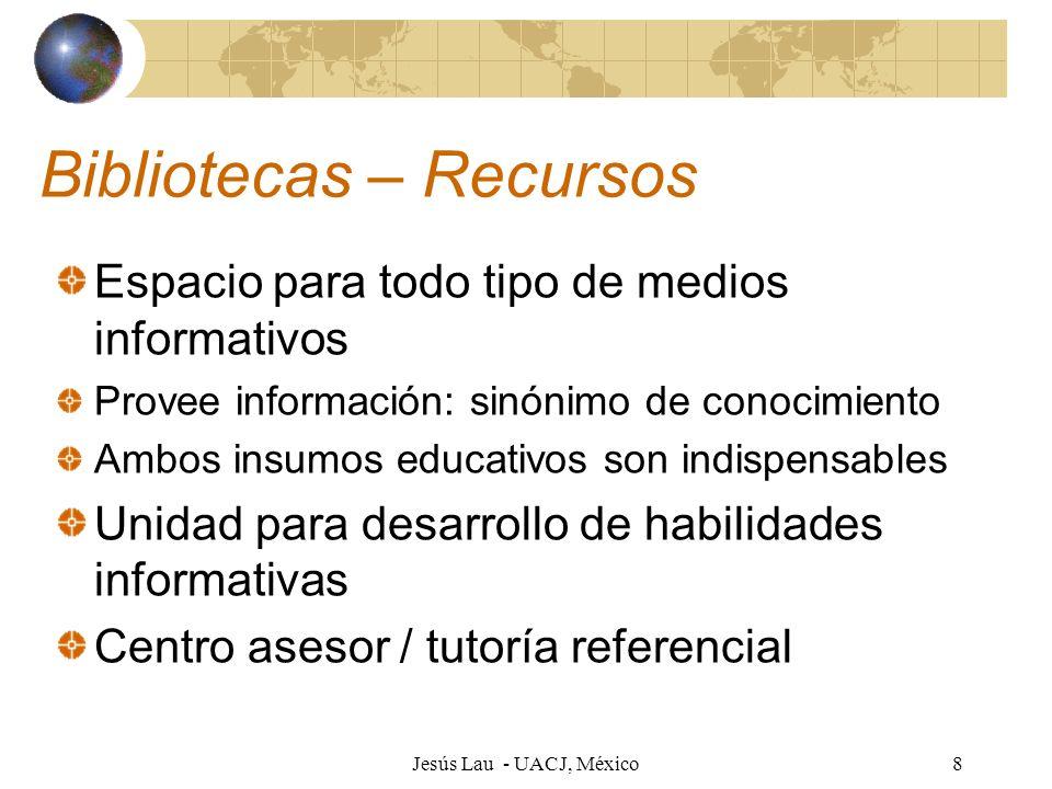 Jesús Lau - UACJ, México8 Bibliotecas – Recursos Espacio para todo tipo de medios informativos Provee información: sinónimo de conocimiento Ambos insu