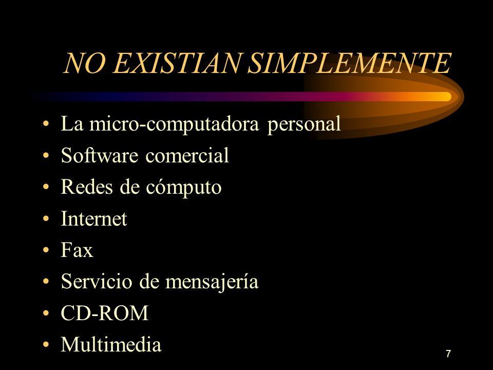 7 NO EXISTIAN SIMPLEMENTE La micro-computadora personal Software comercial Redes de cómputo Internet Fax Servicio de mensajería CD-ROM Multimedia