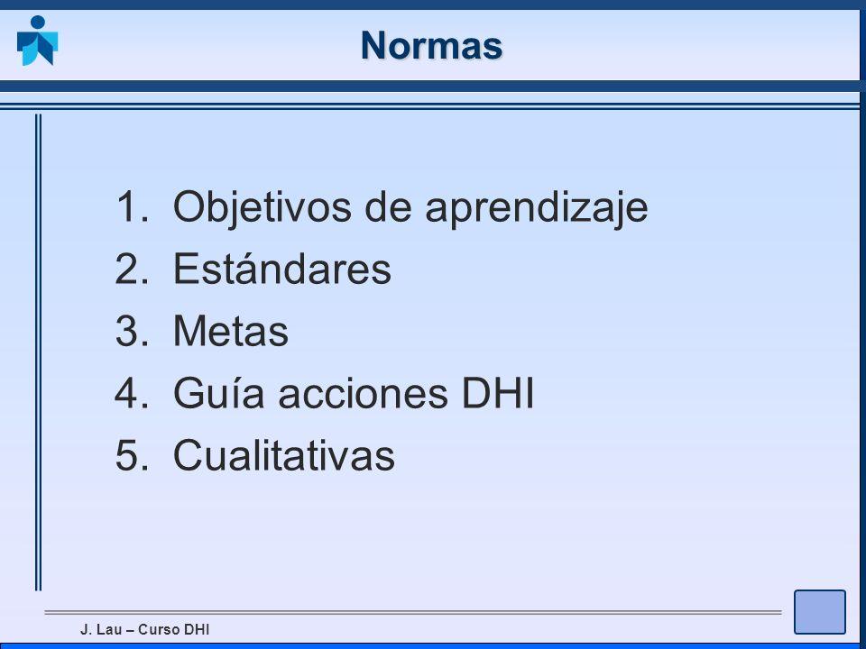 J. Lau – Curso DHI Normas 1.Objetivos de aprendizaje 2.Estándares 3.Metas 4.Guía acciones DHI 5.Cualitativas