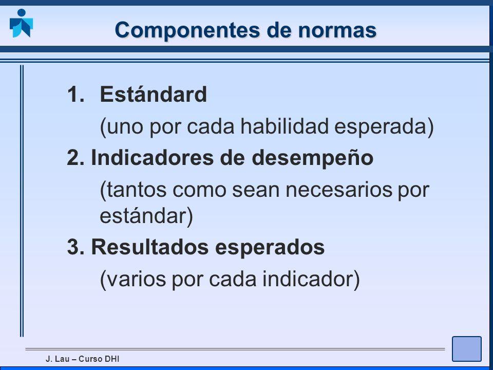 J. Lau – Curso DHI Componentes de normas 1.Estándard (uno por cada habilidad esperada) 2. Indicadores de desempeño (tantos como sean necesarios por es