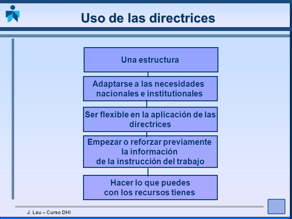 J. Lau – Curso DHI Uso de las directrices Una estructura Adaptarse a las necesidades nacionales e institutionales Ser flexible en la aplicación de las
