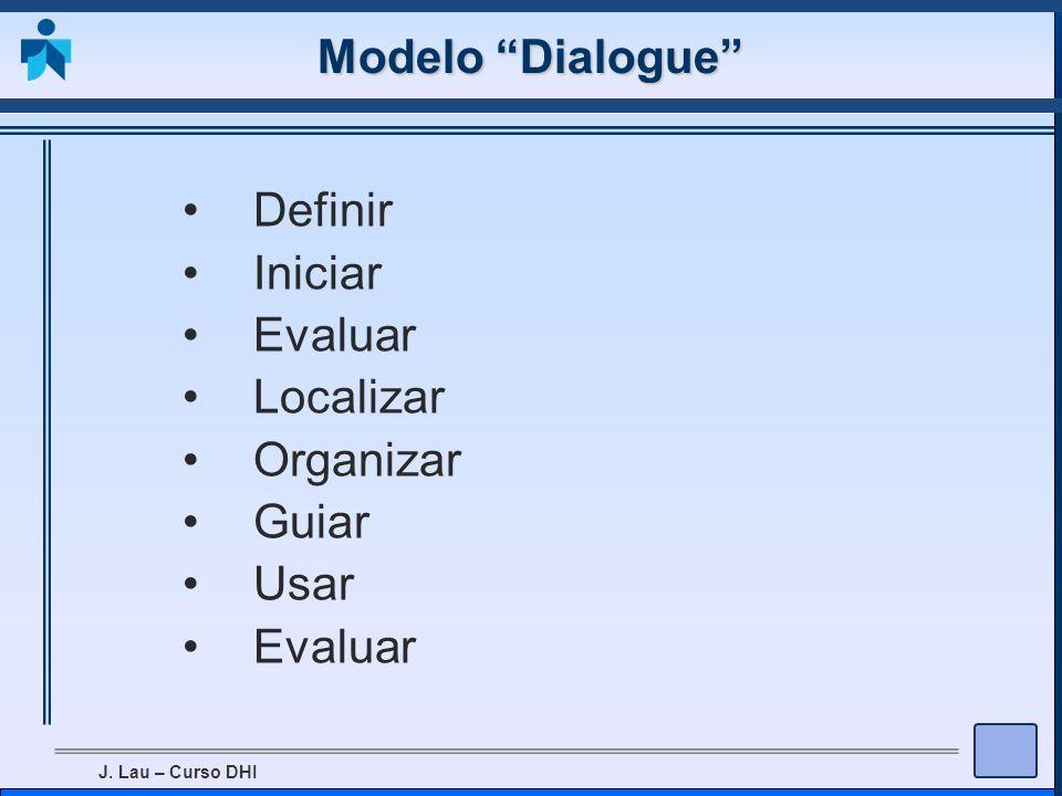 J. Lau – Curso DHI Modelo Dialogue Definir Iniciar Evaluar Localizar Organizar Guiar Usar Evaluar