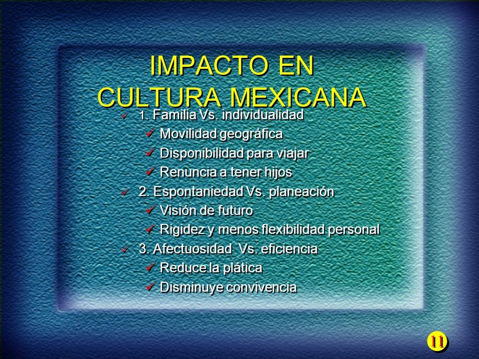 11 IMPACTO EN CULTURA MEXICANA 1. Familia Vs. individualidad Movilidad geográfica Disponibilidad para viajar Renuncia a tener hijos 2. Espontaniedad V