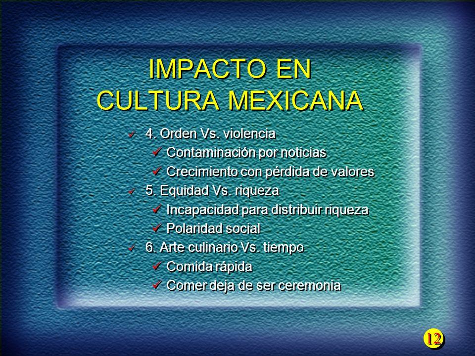 12 IMPACTO EN CULTURA MEXICANA 4. Orden Vs. violencia Contaminación por noticias Crecimiento con pérdida de valores 5. Equidad Vs. riqueza Incapacidad