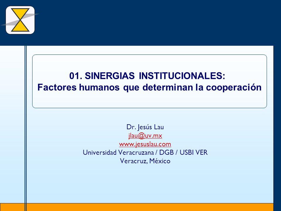 Dr. Jesús Lau jlau@uv.mx www.jesuslau.com Universidad Veracruzana / DGB / USBI VER Veracruz, México 01. SINERGIAS INSTITUCIONALES: Factores humanos qu
