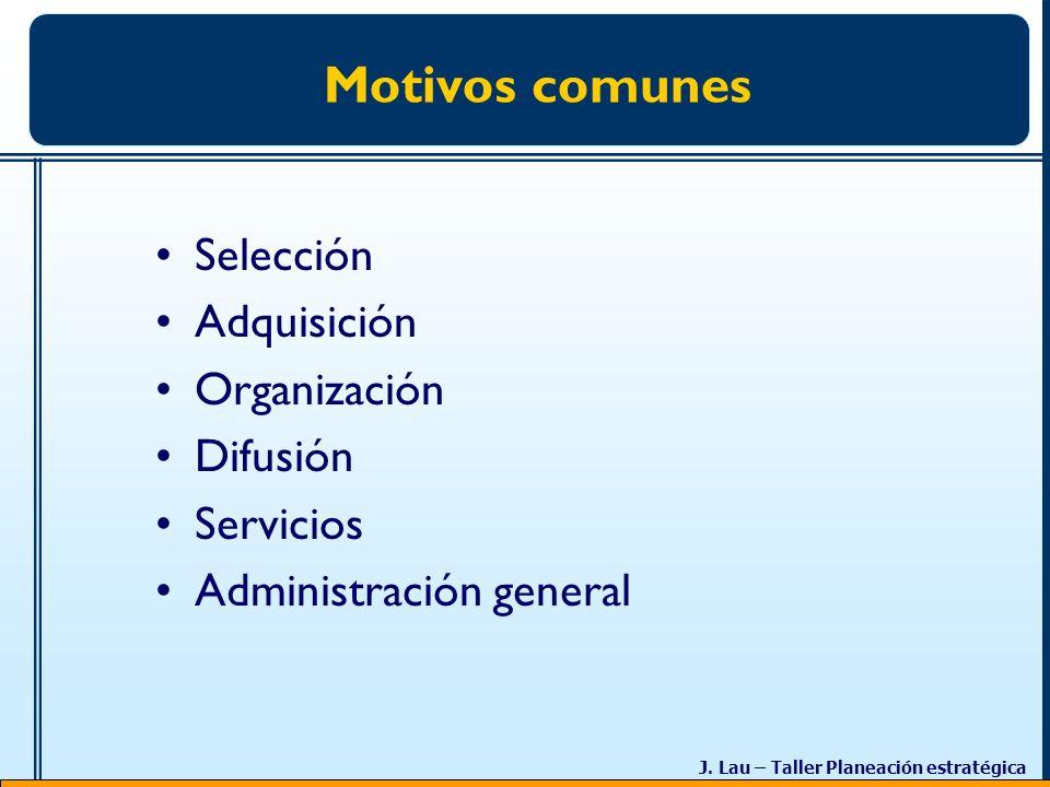 J. Lau – Taller Planeación estratégica Motivos comunes Selección Adquisición Organización Difusión Servicios Administración general