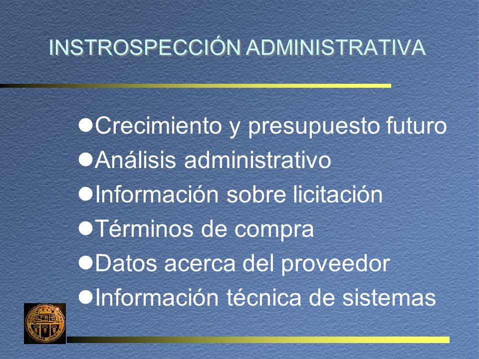 INSTROSPECCIÓN ADMINISTRATIVA lCrecimiento y presupuesto futuro lAnálisis administrativo lInformación sobre licitación lTérminos de compra lDatos acerca del proveedor lInformación técnica de sistemas