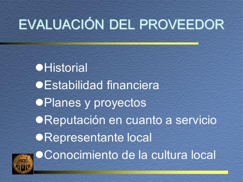 EVALUACIÓN DEL PROVEEDOR lHistorial lEstabilidad financiera lPlanes y proyectos lReputación en cuanto a servicio lRepresentante local lConocimiento de la cultura local