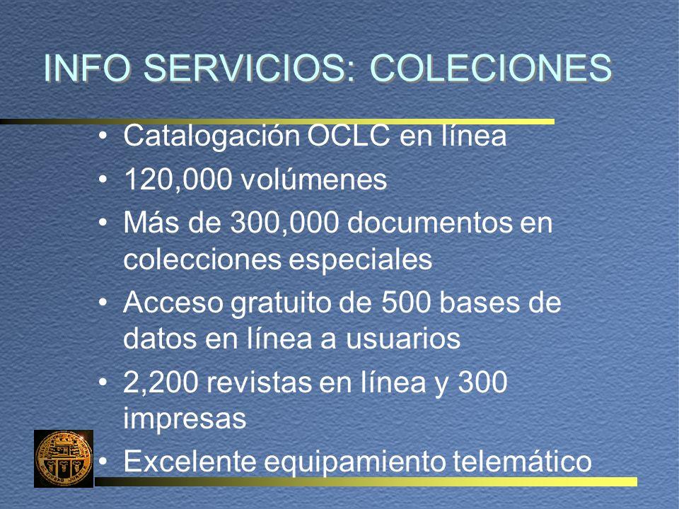 INFO SERVICIOS: COLECIONES Catalogación OCLC en línea 120,000 volúmenes Más de 300,000 documentos en colecciones especiales Acceso gratuito de 500 bases de datos en línea a usuarios 2,200 revistas en línea y 300 impresas Excelente equipamiento telemático