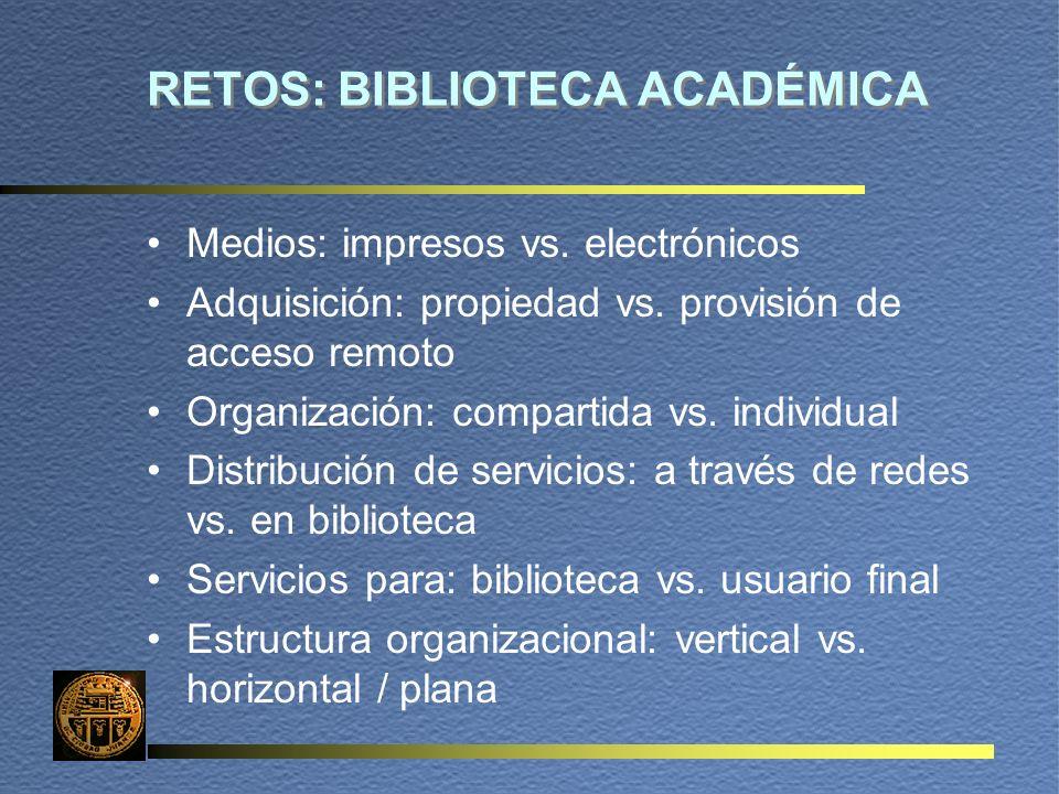 RETOS: BIBLIOTECA ACADÉMICA Medios: impresos vs. electrónicos Adquisición: propiedad vs.