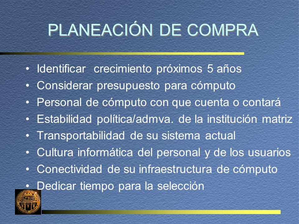 PLANEACIÓN DE COMPRA Identificar crecimiento próximos 5 años Considerar presupuesto para cómputo Personal de cómputo con que cuenta o contará Estabilidad política/admva.