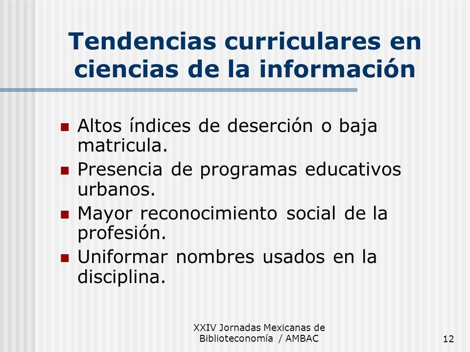 XXIV Jornadas Mexicanas de Biblioteconomía / AMBAC12 Tendencias curriculares en ciencias de la información Altos índices de deserción o baja matricula