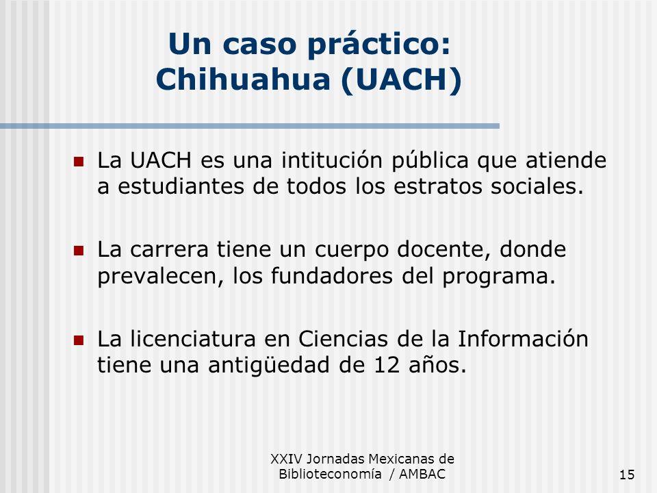 XXIV Jornadas Mexicanas de Biblioteconomía / AMBAC15 Un caso práctico: Chihuahua (UACH) La UACH es una intitución pública que atiende a estudiantes de