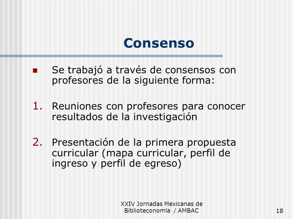 XXIV Jornadas Mexicanas de Biblioteconomía / AMBAC18 Se trabajó a través de consensos con profesores de la siguiente forma: 1. Reuniones con profesore