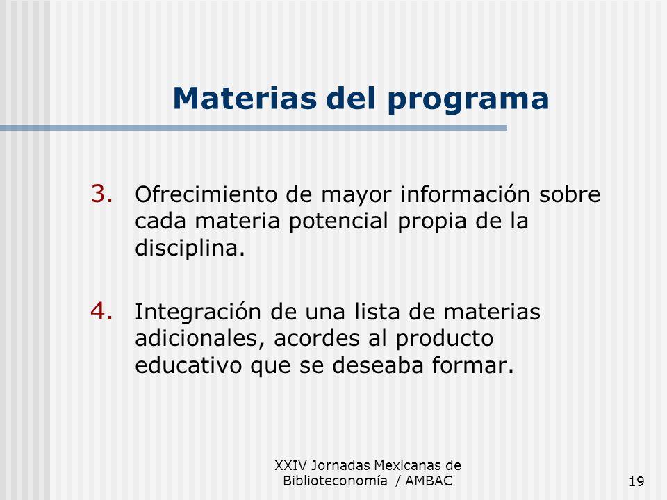 XXIV Jornadas Mexicanas de Biblioteconomía / AMBAC19 3. Ofrecimiento de mayor información sobre cada materia potencial propia de la disciplina. 4. Int