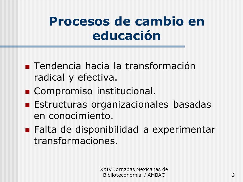 XXIV Jornadas Mexicanas de Biblioteconomía / AMBAC3 Procesos de cambio en educación Tendencia hacia la transformación radical y efectiva. Compromiso i