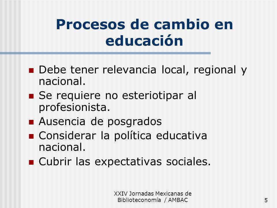 XXIV Jornadas Mexicanas de Biblioteconomía / AMBAC5 Procesos de cambio en educación Debe tener relevancia local, regional y nacional. Se requiere no e