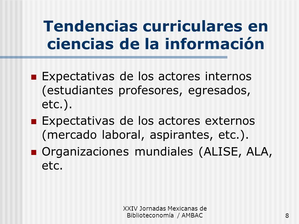 XXIV Jornadas Mexicanas de Biblioteconomía / AMBAC8 Tendencias curriculares en ciencias de la información Expectativas de los actores internos (estudi
