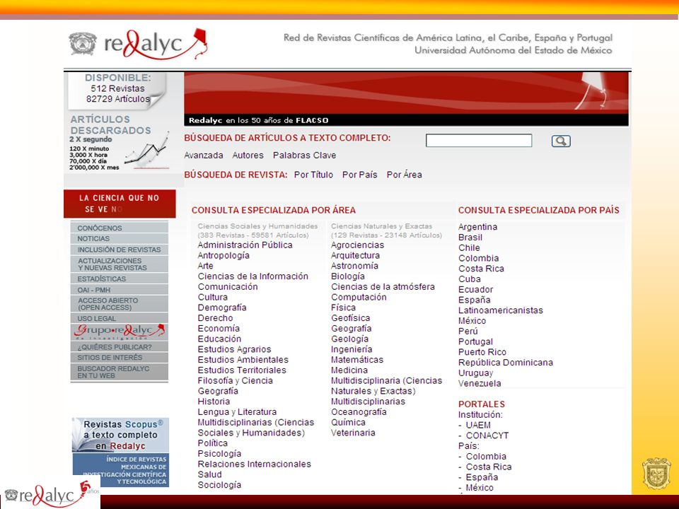 Redalyc es responsable de las revistas del índice de Conacyt y de CLACSO En su acervo se encuentra las principales revistas de las universidades de mayor prestigio: UNAM / COLMEX / UAM