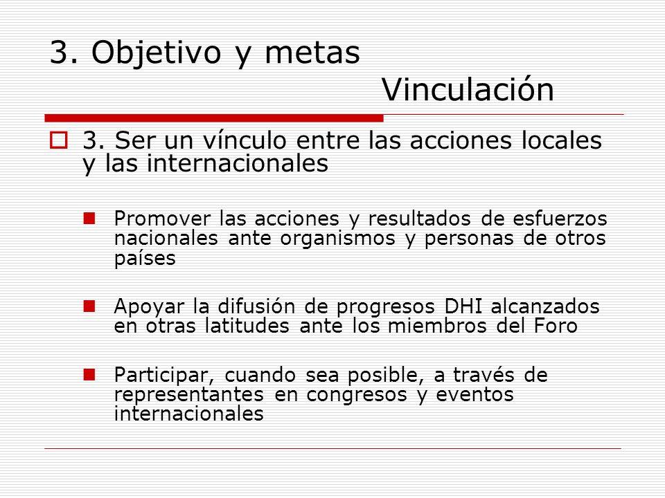 3. Objetivo y metas Vinculación 3. Ser un vínculo entre las acciones locales y las internacionales Promover las acciones y resultados de esfuerzos nac