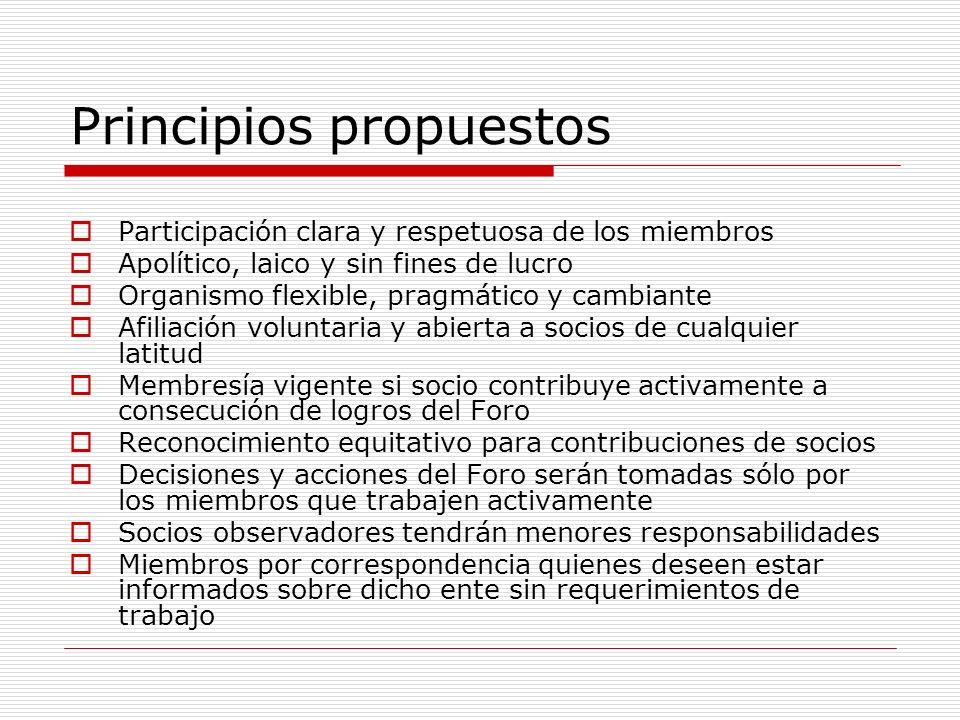 Principios propuestos Participación clara y respetuosa de los miembros Apolítico, laico y sin fines de lucro Organismo flexible, pragmático y cambiant